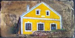 Régi ház Köveskálon, olaj,18.sz-i tetőcserép, 18 x 36,3 cm, 2017, Levy Műterem-Galéria\r\n