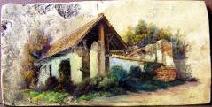 Régi ház Murgán, olaj-18.sz-i tetőcserép, 18 x 36,5 cm, 2013, magángyűjtemény, Budapest\r\n