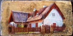 Salföldi házak, olaj, 18.sz-i tetőcserép, 18 x 36,3 cm, 2017, Levy Műterem-Galéria