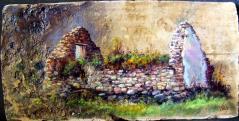 Bihari Puhl Levente: Utmenti romok Hegyestűnél (cserépre festve)