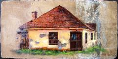 Bihari Puhl Levente: Régi ház Jánosfalván (cserépre festve)