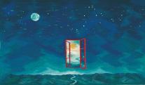 Éjjeli nap, nappali hold, 1998,Gobelin, Gyapjú,selyem,102×165cm
