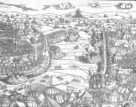 Erhard Schön (1491-1542 körül): Buda ostroma. 1541 (a metszet jobb oldali része)