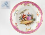 Kézzel festett, miniatűr porcelántányér