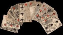 18 lapból álló művészi kivitelű francia kártya lapok. Kisfaludy Sándor hagyatékából került elő. (hiányos!)