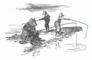 Horgászat a mólón (Mühlbeck Károly festőművész, grafikus illusztrációja)