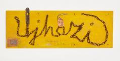 Ujházi: Láncírás (2012-15, falap, vaslánc, vegyes technika, 35x100 cm)