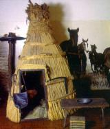 Nádból készült pásztorkunyhó