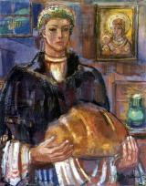 Eszter Mattioni: Woman of Decs with bread, 1958