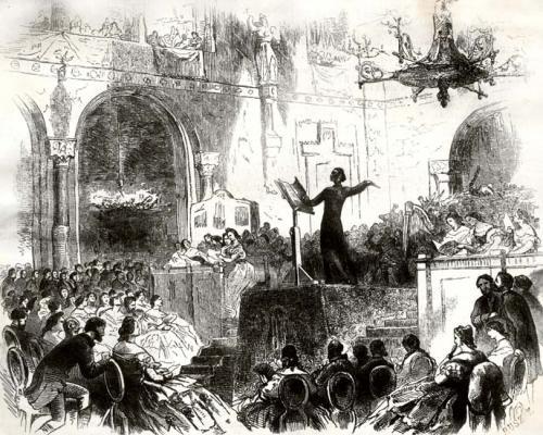 Liszt Ferenc a Szent Erzsébet legendájának vezénylése közben
