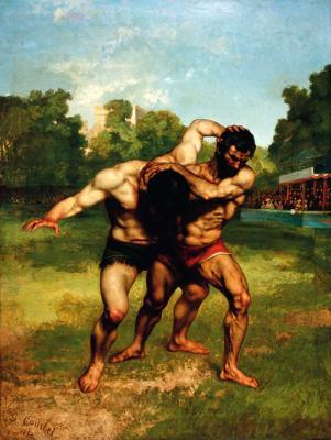 Ornans 1819 - 1877 La-Tour-de-Peilz, Birkózók: (1853), olaj, vászon, 252x198 cm