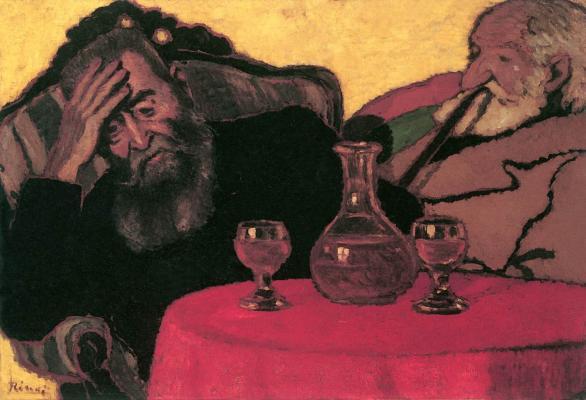 Rippl-Rónai József: Apám és Piacsek bácsi vörösbor mellett