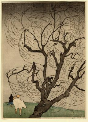 Emil Orlik\r\nSzélvihar, 1901\r\nszínes fametszet, 355x260 mm\r\n