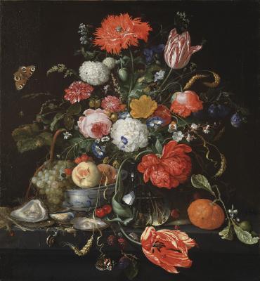 Jan Davidsz. de Heem: Csendélet gyümölcsökkel, homárral és aranyozott ezüstkehellyel