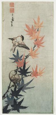 Katsushika Taito II\r\nJuharág és verebek\r\nJapán, 19. század\r\nSzínes fametszet, 36,8 x 17 cm\r\n