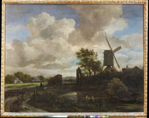 Jacob Isaacksz. van Ruisdael: Esti táj: szélmalom pataknál