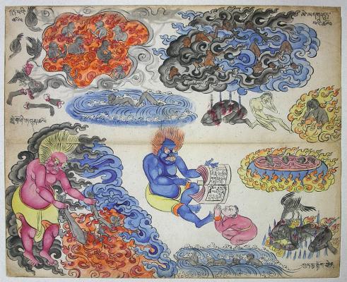 A IV. Nagy meleg pokol 13–16. alpokla: Égő nád füstjének kertje, Égő parázs füstjének kertje, Izzó köd és Mindenfelől gyanakodva vizsgáló. Mongólia, 20. század eleje. Papír, festett.
