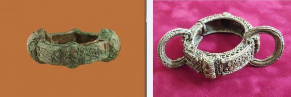 Karkötők. A Csehországból érkező kiállítás különleges darabja egy női sírból előkerült álfiligrándíszítésű karperec, ami nemcsak ékszer, hanem rangjelző szereppel is bírt. Erre utal az is, hogy a formailag, díszítésben hozzá legközelebb álló darab Hetényből (Chotin) egy fegyveres harcos sírjából került elő. Most látható először együtt a két darab.