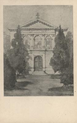 Az evangélikus templom Nendtvich Tamás ceruzarajzán