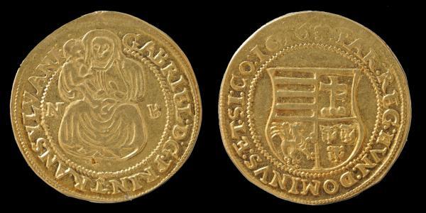 Báthory Gábor erdélyi fejedelem 1610-ben vert ötdenáros garas aranyverete ötszörös dukát súlyban.