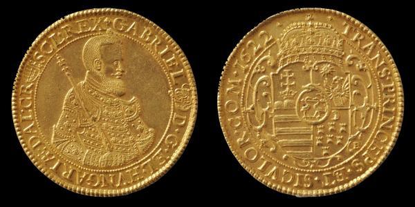 Bethlen Gábor 1622-ben, Körmöcbányán vert tízszeres aranyforintja.