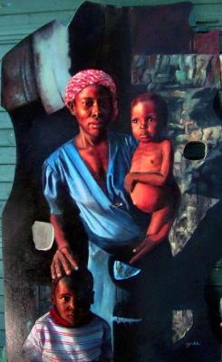 Bihari Andrea (Ynda): Lyukak Afrikában, olaj-fatábla,159x95 cm