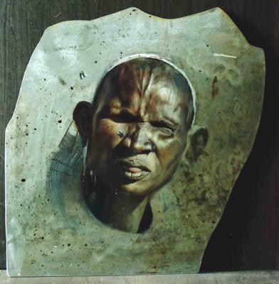 Bihari Andrea (Ynda): A szudáni légy-ott olaj-alumíniumlemez, 55x52,5 cm