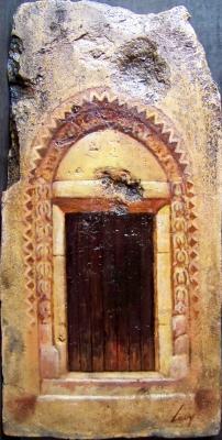 Bihari Puhl Levente: Őrségi témák - Szent Péter templom bejárata, cserép, 36,8x18,4cm