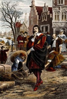 Descartes Amszterdamban. Színezett metszet Felix Philippoteau (1815-1884) 1880-ban készült rajza alapján.
