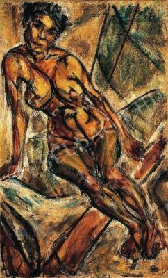Dénes Valéria (1877-1915): Cigánylány (1913,) vászon, olaj, 80x49 cm, a Janus Pannonius Múzeum tulajdona