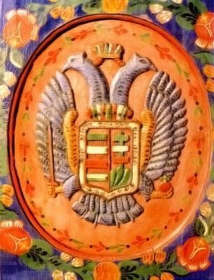 Szlovák falitéka magyar címerrel és a magyar nemzeti színek dominanciájával. Tótkomlós, 1850-es évek
