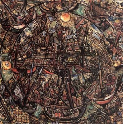 Galimberti Sándor: Amszterdam, 1914, vászon, olaj, 92x92 cm