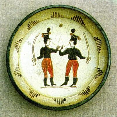 Két huszár verbuválás közben, szlovák tányéron. Bakabánya, 19. sz.