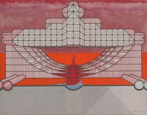 Jozef Jankovič: Plan for Communist Party Hotel on the Moon, 1976 pen, acryl on paper 50,5 x 66 cm, SNG Bratislava