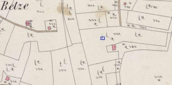 A kék négyzettel jelölt területen - amely az 1858-ban készült kataszteri térkép tanúsága szerint bizonyosan szőlővel művelt volt - zajlott a szőlőterület nyomait kereső feltárás, ahol valóban sikerült is egy tőkére bukkannunk.