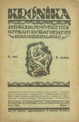 A Krónika folyóirat 1920. május 1-i számának címlapja