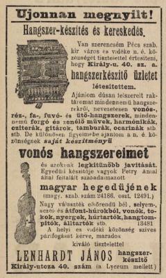 Lenhardt hirdetése a Pécsi Napló 1903. július 12-i számában