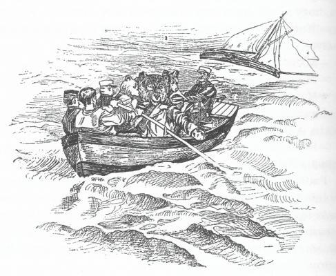 Mentőcsónakkal a viharban (Mühlbeck Károly festőművész, grafikus illusztrációja)
