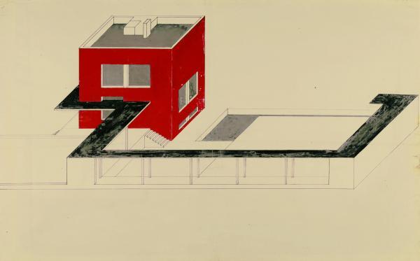 Molnár Farkas: A vörös kocka, 1922/23., tus, fedőfesték, pauszpapír, 58,5x91 cm