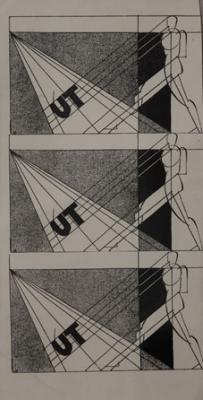 Molnár Farkas: Plakáttervek az ÚT folyóirat számára, 1923 körül, tus, papír, 333 x 157 mm, Marinko Sudac (Zágráb) gyűjteménye
