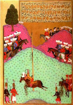 II. Murad szultán íjászgyakorlat közben (töklövés). Oszmán miniatúra (1584)
