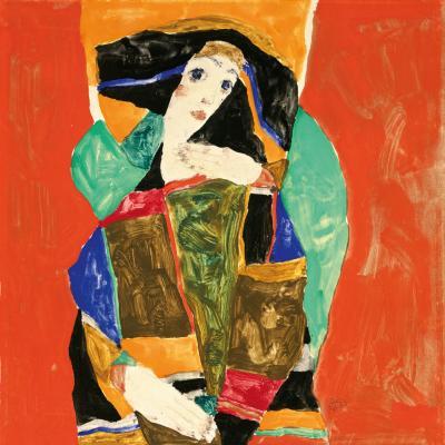 Egon Schiele<br> Női portré (Wally Neuzil), 1912<br> Gouache, ceruza, papír<br> Magángyűjtemény