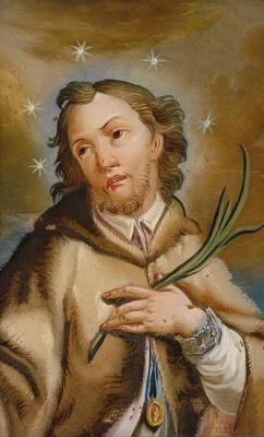 Nepomuki Szent János. Üvegfestmény, Augsburg, 18. szd. 16 x 11 cm