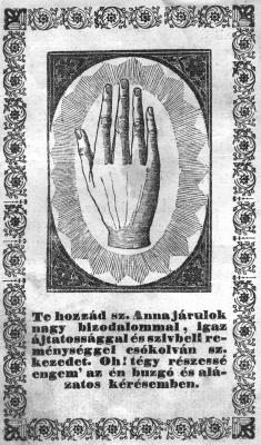 Szent Anna keze az imakönyvben
