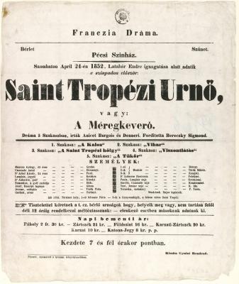 Színiplakát 1852-ből