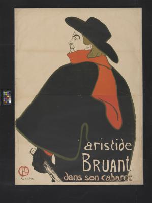 Toulouse-Lautrec: Aristide Bruant a kabaréjában, 1893\r\nlitográfia 1385 mm X 1000mm