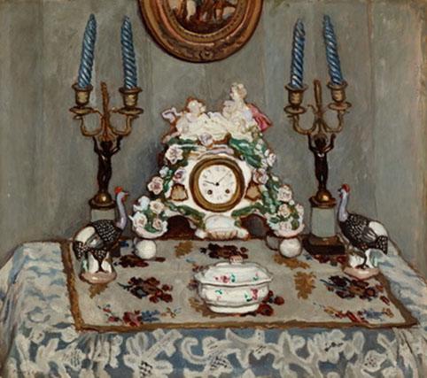 Fényes Adolf (1867-1945): Csendélet porcelánórával, 1910 körül