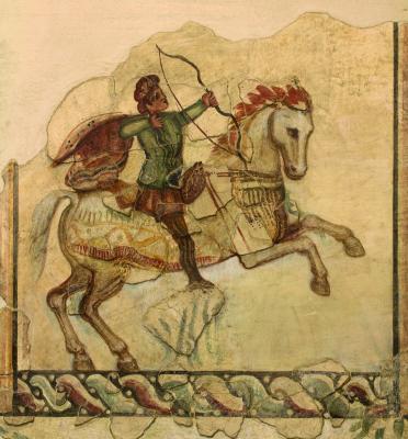 Vadászjelenetes freskó az aquincumi római katonaváros egyik házából